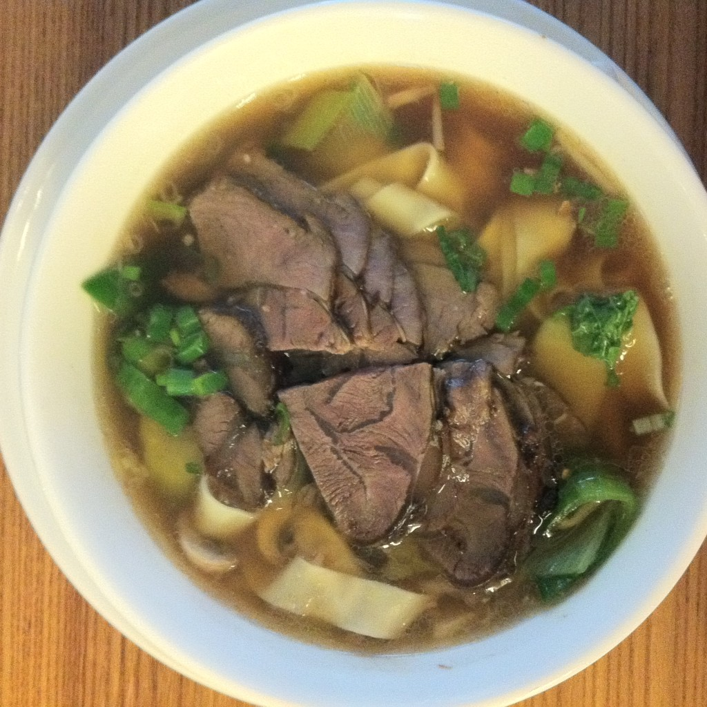Nudelsuppe mit Rindswangen. Noodle soup with beef cheeks.